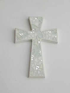 Mosaic Wall Cross Shades Of White Silver Mirror Handmade Stained Glass Mosaic 12 X 8 Wedding Baptism Communi Mosaic Glass Wall Crosses Mosaic Crosses
