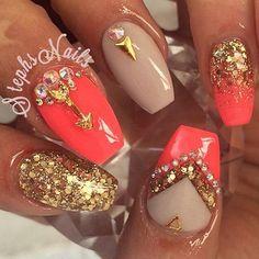 "WEBSTA @ _stephsnails_ - Bright Like Summer @glamandglitsnails bright coral""auto expose"""
