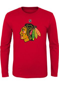 Chicago Blackhawks Youth Red Primary Logo Long Sleeve T-Shirt 2f52be056