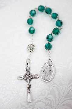 St Patrick Green Celtic Irish One Decade Pocket Rosary, Catholic Prayer Beads on Etsy, $10.00