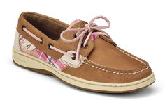 The Original Women's Boat Shoe since 1935. I love how the ties are pink instead of the normal brown.