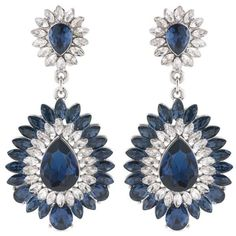 Carolee Blue Carnegie Hall Crystal Chandelier Clip On Earrings ($75) ❤ liked on Polyvore featuring jewelry, earrings, blue, carolee earrings, clip back earrings, crystal earrings, chandelier earrings and chandelier jewelry
