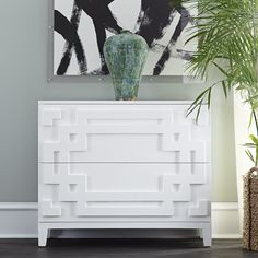 Modern Chinoiserie Chest – White
