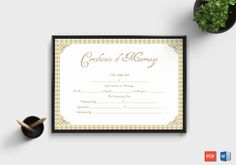 Marriage Certificate Template (Grey Gold, - Get high quality, professionally designed template. Templates are available in Word & PDF Formats. Certificate Format, Wedding Certificate, Gift Certificate Template, Marriage Certificate, Free Printable Gift Certificates, Award Certificates, Word Program, Baby Announcement Cards, Specialty Paper