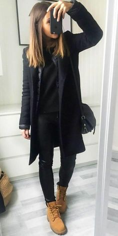 How to Wear Timberland Boots: Top 35 Outfit Ideas - Brenda O. - How to Wear Timberland Boots: Top 35 Outfit Ideas - Brenda O. How to Wear Timberland Boots: Top 35 Outfit Ideas - - Preppy Winter Outfits, Winter Coat Outfits, Stylish Outfits, Fall Outfits, Outfits With Boots, Black Outfits, Summer Outfit, Winter Fashion Boots, Dress Winter