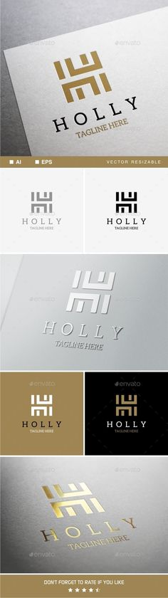 Holly - H Letter Logo Template: Letter Logo Design Template by soponyono. Web Design, Fashion Logo Design, Graphic Design, Hh Logo, Logo Branding, Logo Design Template, Logo Templates, Luxury Font, Luxury Logo Design