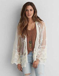 AEO Lace + Mesh Kimono, Cream | American Eagle Outfitters