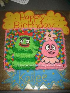 Homemade Yo Gabba Gabba Cake: I made a rectangle cake and traced on pictures of brobee Foofa that I printed off the internet. I made a huge quantity of buttercream icing and tinted