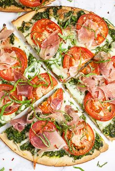Arugula Pesto, Prosciutto, and Tomato Pizza | The Rustic Foodie