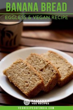 This easy banana bread recipe creates the most moist bread you'll ever eat. Vegan and so easy to make, this healthy recipe is great for dessert or breakfast. #bananabreadrecipe #easy #moist #dassanasvegrecipes Eggless Banana Bread Recipe, Vegan Banana Bread, Easy Banana Bread, Banana Bread Recipes, Egg Free Desserts, Eggless Desserts, Healthy Chocolate Mousse, Pumpkin Bread, Veg Recipes