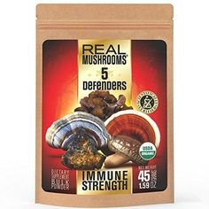 5 Defenders Mushroom Extract Blend by Real Mushrooms - Chaga, Reishi, Shiitake, Maitake and Turkey Tail Mushroom Powder - Organic - Immune Defense - 45g - Perfect for Shakes, Smoothies, Coffee and Tea -- See this great product.