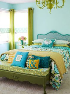 Lime green and turquoise home decor! I am in room design designs house design home design Bedroom Green, Dream Bedroom, Bedroom Decor, Bedroom Ideas, Green Bedrooms, Bedroom Colors, Bedroom Designs, Colourful Bedroom, Bedroom Furniture