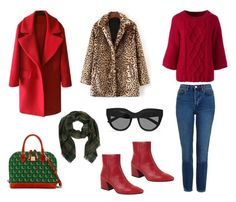 """""""Red vs Leopard"""" by stacyco ❤ liked on Polyvore featuring Topshop, Lands' End, Dooney & Bourke, Vagabond and Le Specs"""