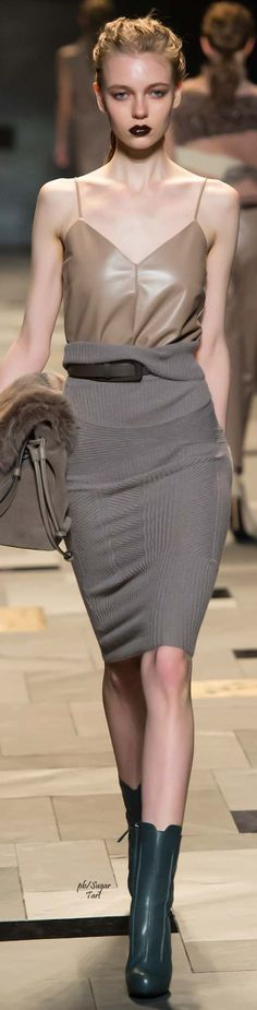 Trussardi Fall 2015 RTW --- 'Yes to the outfit, the skirt especially---but not with those boots.'  JT (always in my own words)