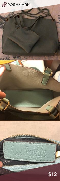 Free People Vegan Crossbody Purse Free People Reversible Bag - mint green and gray combo. Removable strap and coin purse! In great condition. Free People Bags Crossbody Bags