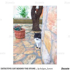 DETECTIVE CAT BEHIND THE STONE WALL 6.5X8.75 PAPER INVITATION CARD