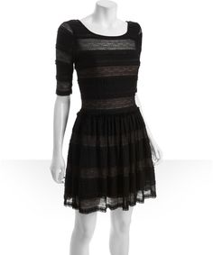 BCBGMAXAZRIA black lace fitted sleeve ruffle trimmed 'Loue' dress | BLUEFLY up to 70% off designer brands