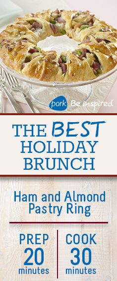 Raise the bar at your holiday brunch this season. We are in love with this Ham and Almond Pastry Ring!