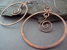 Cool Hoop Earrings! Hand Hammered Copper Hoop Earrings by ElementsbyJulie via Esty