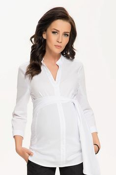 Formální těhotenská halenka se stuhou bílé barvy Blouse, Long Sleeve, Sleeves, Tops, Women, Fashion, Moda, Long Dress Patterns, Fashion Styles