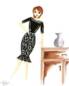 Dress in black #fashionillustration #sketch #drawing