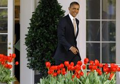 President Obama heading to a press conference on the South Lawn of the White House, March 29, 2012.