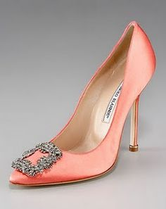 Mother of the Bride shoe. She should wear some kind of 'pink' Manolo Blahnik -  Hangisi Satin Pump Coral
