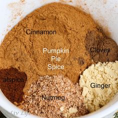 Omit nutmeg if not tolerable and use mace instead of allspice! Homemade Pumpkin Pie, Homemade Spices, Homemade Seasonings, Pumpkin Pie Spice, Diy Pumpkin, Fall Recipes, Pumpkin Recipes, Food Storage, Ideas Prácticas