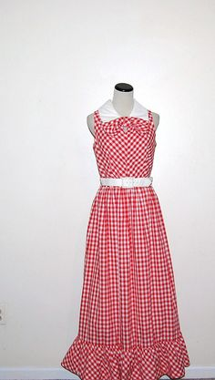 Vintage Dress Red Bow with White by CheekyVintageCloset on Etsy, $42.00