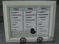 chore chart.  Make it magnetic so the three columns can rotate and make it dry erase for easy mark-offs.