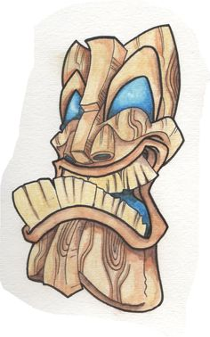 wood by on DeviantArt Totem Tattoo, Tiki Tattoo, Cartoon Drawings, Art Drawings, Tiki Maske, Tiki Head, Tiki Statues, Shetland, Tiki Totem