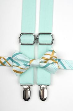 Mint Plaid bow tie & suspenders, mint suspenders, plaid mint bow tie, ring bearer outfit, mint and gold wedding, mint gold bow tie, mint tie by DapperGent on Etsy https://www.etsy.com/listing/221429416/mint-plaid-bow-tie-suspenders-mint