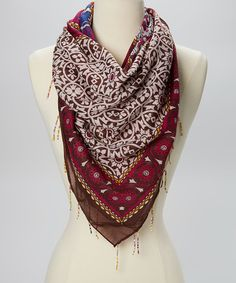 Take a look at this The Accessory Collective Pink Floral Fringe Sheer Scarf on zulily today!