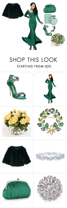 """Esmeralda"" by love-you-as-god-does ❤ liked on Polyvore featuring Manolo Blahnik, Distinctive Designs, Napier, Yves Salomon, Harry Winston, Julia Cocco', Nadri and maurices"