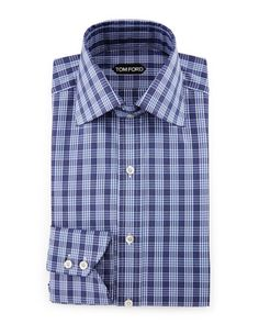 TOM FORD Bicolor Double-Check Slim-Fit Shirt, White/Black. #tomford #cloth #