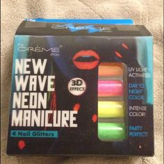 4 Nail Glitters! The Creme shop new wave neon manicure!  4 Nail Glitters!  Never used it! Box has been damaged bc put it in nail art bag but never used actual glitters! Last picture show you how to using it!                  Cheaper on ♏️ercari ( if you sign up with my invite code, you will get $2. My invite code is HDVPSE ) The Creme Shop  Other