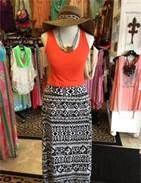 Why not pair that zebra maxi skirt with a bright tank like this one in coral (teal or yellow would be sweet as well), instead of the usual black, white or grey?