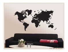 Wandtattoo - Weltkarte skyline