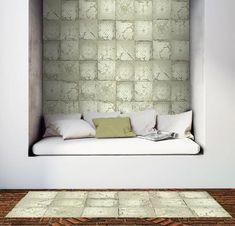 Ornement étain Carrelage Papier peint gris vert blanc-cassé Collez Le Mur Texturé Vinyle