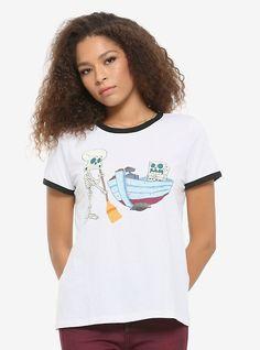 SpongeBob SquarePants Skeleton Crew Girls Ringer T-Shirt Kids Outfits Girls, Girl Outfits, Stranger Things Merchandise, Space Girl, Spongebob Squarepants, Black Trim, Girl Cartoon, White Tees, Size Model