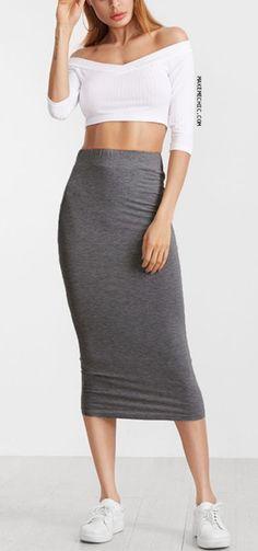 Heather Grey Elastic Waist Jersey Pencil Skirt