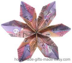origami flores de dinero Tutorial