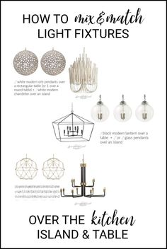 How to mix and match light fixtures over the kitchen island and table like a Boss! via Sprinkled Nest Interiors  #lightingdesign #lighting #kitchenlighting #howto