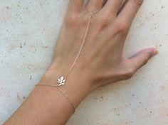 Finger Bracelet Gold Finger Bracelet Lotus Leaf bracelet 14kt gold filled Slave Bracelet Jacquie Aiche inspired. $60.00, via Etsy.
