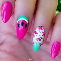 21 Flamingo Nails : 21 Flamingo Nails > CherryCherryBeaut… [Source: / In… – Christy – Nagel Summer Acrylic Nails, Summer Nails, Pastel Nails, Perfect Nails, Gorgeous Nails, Nailart, Mode Statements, Watermelon Nails, Heart Nail Art