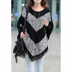 $8.41 Color Block Fringe Long Sleeves Irregular Fashionable Style Cotton Blend T-Shirt For Women