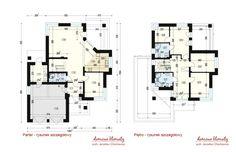 House design Andromeda N m² - Domowe Klimaty Two Story House Design, Two Story Homes, House Entrance, Ground Floor, House Plans, Floor Plans, Flooring, Houses, Home Decor