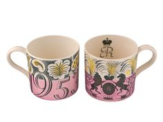 Wedgwood Pottery Eric Ravilious Coronation Mugs (to commemorate the coronation of Her Majesty Queen Elizabeth II, 1953.)