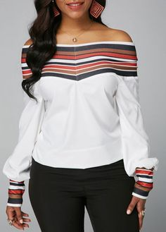 Striped Long Sleeve Off the Shoulder White Blouse heels sexyshoes furheel fashion womenshoestore ladyshoes ladyheel womensummer life summerwear fashionable Formal Blouses, Red Blouses, Striped Blouses, Trendy Tops For Women, Blouses For Women, Blouse Styles, Blouse Designs, Chic Outfits, Fashion Outfits
