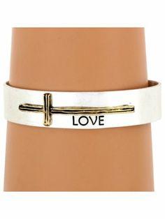 Silvertone with Goldtone Sideways Cross Love Cuff Bracelet
